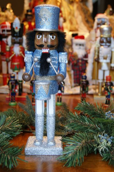 African American Nutcracker- Silver and Blue Drummer