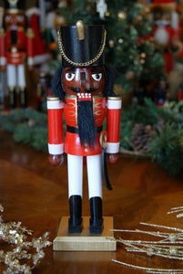 African American Nutcracker -Red Soldier 10""