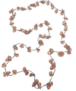 NECKLACE - LONG GREY CORD WITH COPPER RECYCLED CALLA LILIES