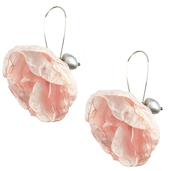 EARRINGS -CHIFFON FLOWER WITH FRESH WATER PEARL