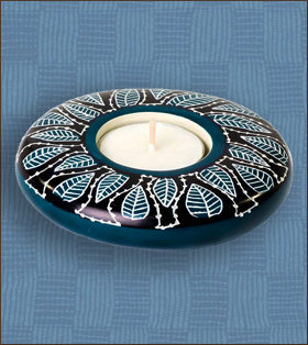 Laced Leaves Soapstone Tea Light Candle Holder