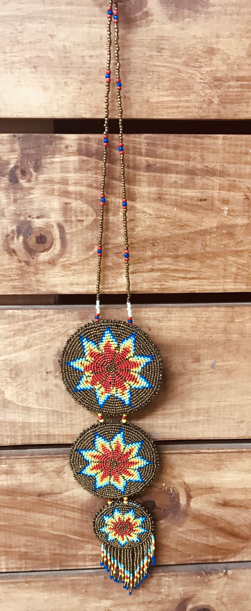 THREE DISC BEADED NECKLACE