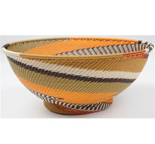 Telephone Wire African Earth Round Bowl W/ Base