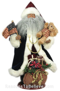 "16"" Black USA Plush Santa"