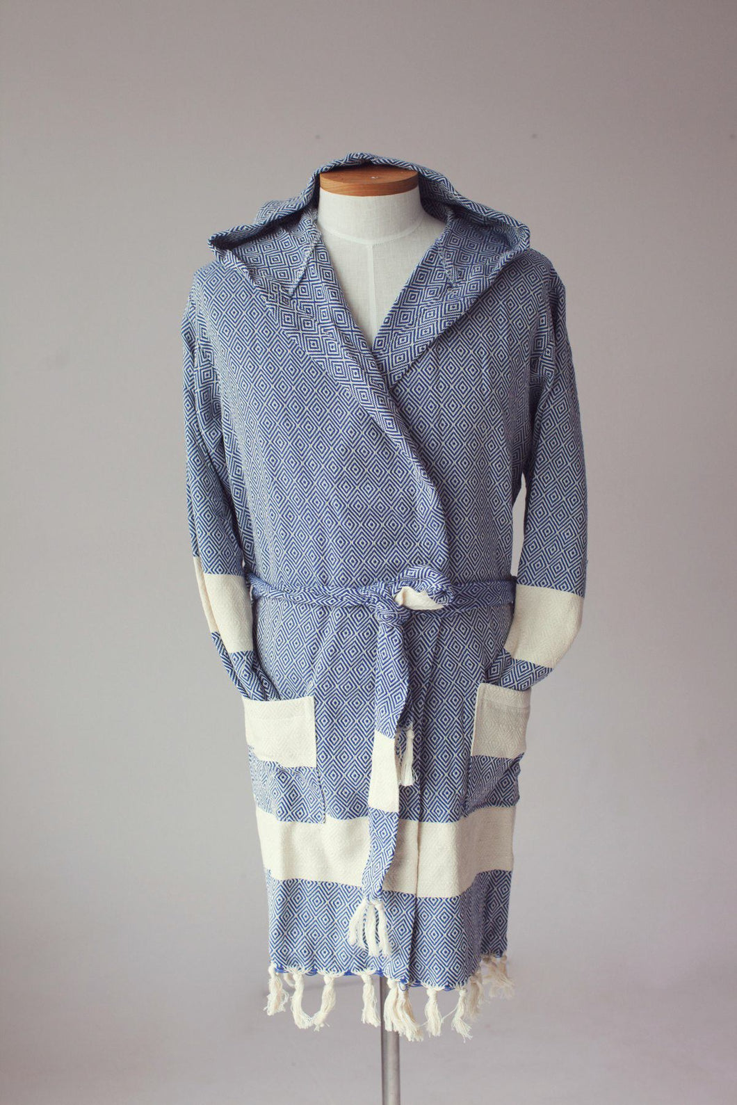 100% Turkish Cotton-Venice Bathrobe Blue