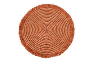 KAZI - Peach Large Fringed Charger