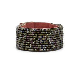 Swahili Coast - Medium Dark Purple Rainbow Leather Cuff - Limited Edition