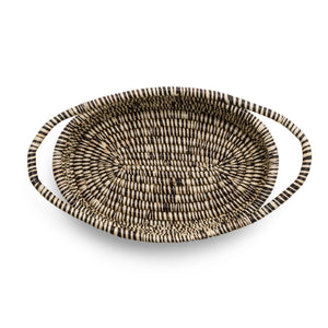 KAZI - Heathered Black + White Raffia Oval Basket