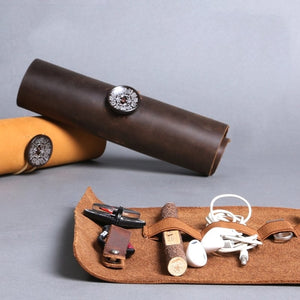 Genuine leather Cable Manager Storage Bag