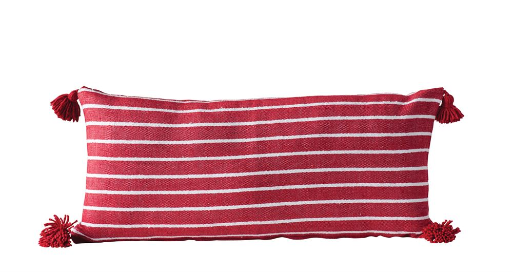 Cotton Striped Pillow, Red w/ Red Tassels