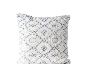 Square Cotton Tufted Pillow, Natural & Black 30""
