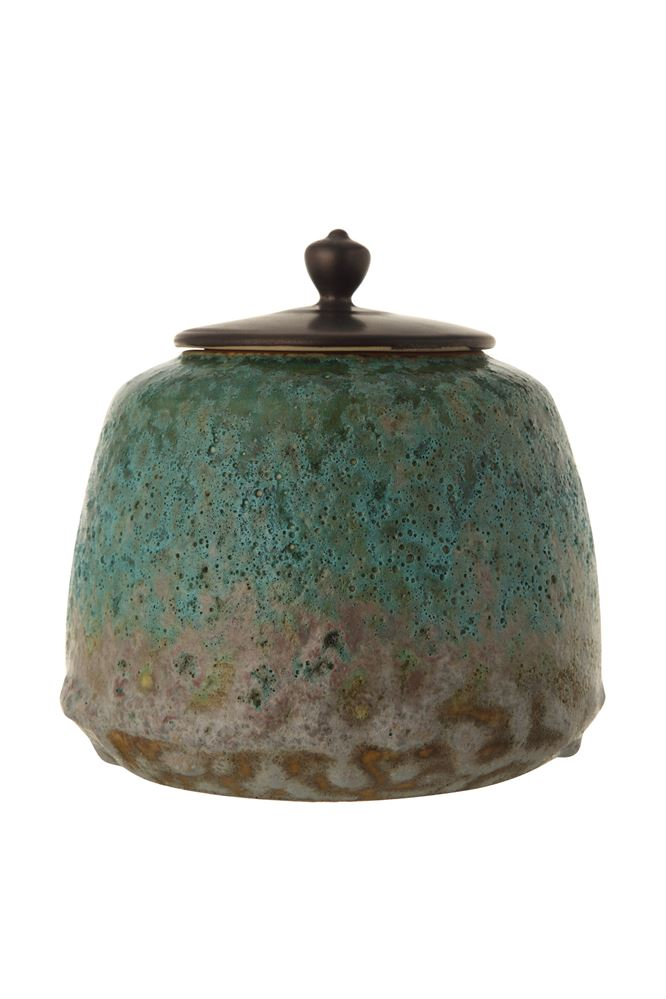 Decorative Stoneware Container w/ Lid, Turquoise Reactive Glaze