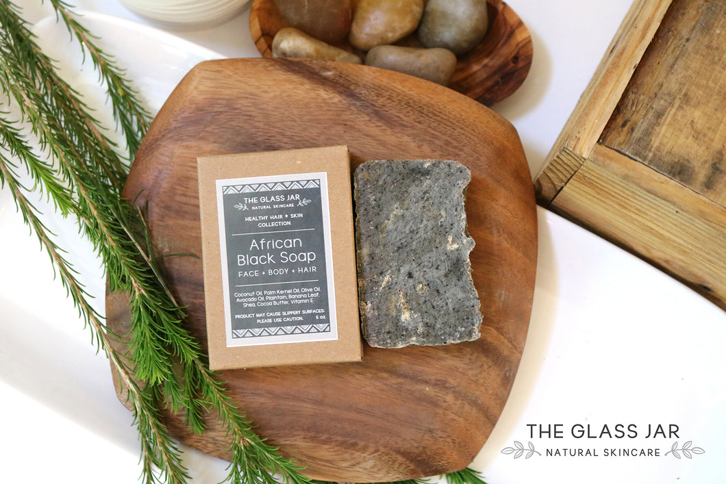 The Glass Jar Natural Skincare - Raw African Black Bar Soap 5 oz