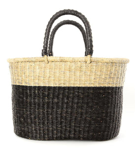 Block Bolga Shopper with Leather Handles