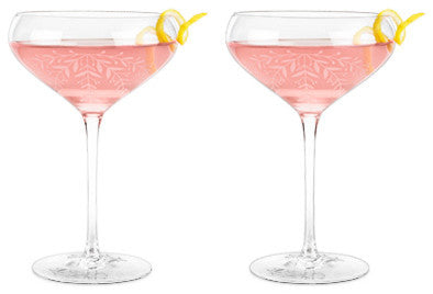 Twine - Floral Crystal Cocktail Coupe Set