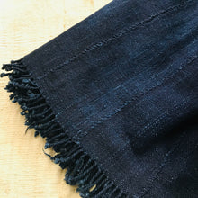 Indigo Solid Mud Cloth with Hand twisted fringe