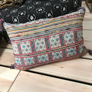Multi Weave Printed Pillow w/Tassels