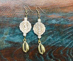 Swirl Earrings with Brass Cowrie Shell