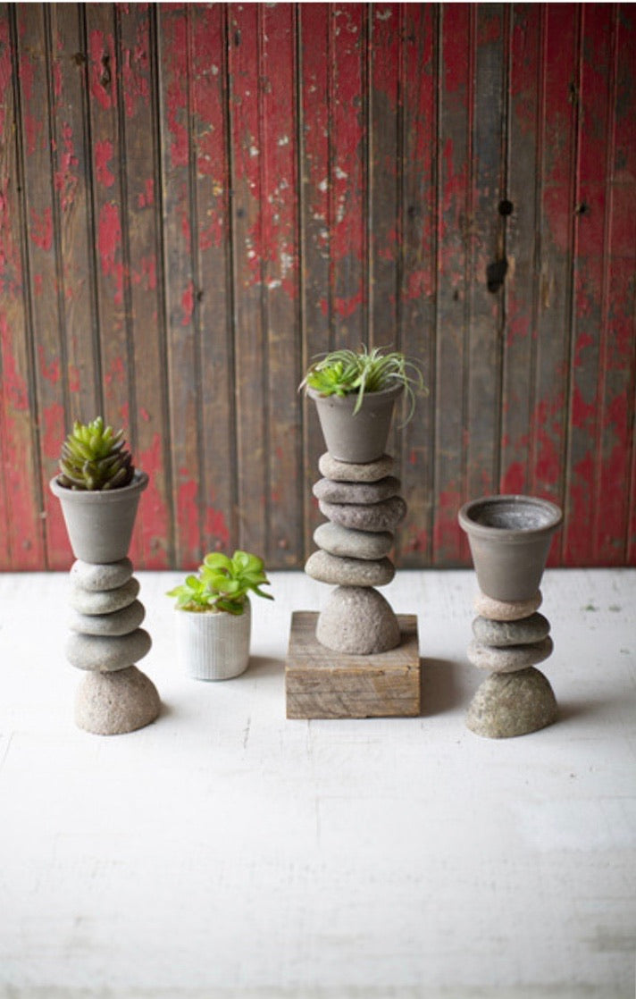 Set of Three Clay Planters on River Rock Bases