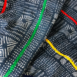 African Batik Throw with Primary Color Stitching