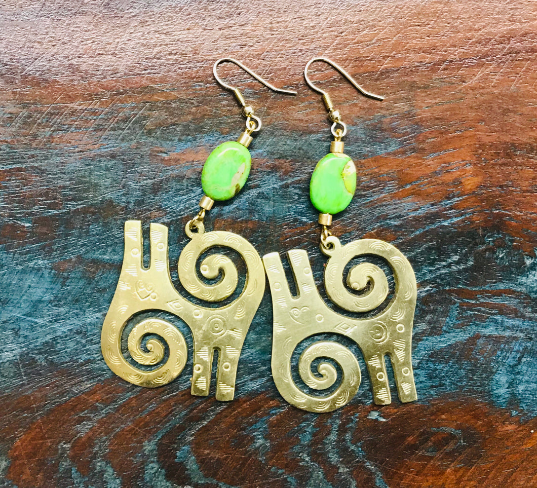 Adinkra Kwatakye Brass Earrings with Green Bead