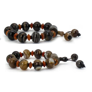 Lace Agate Beads Bracelet Brown or Black