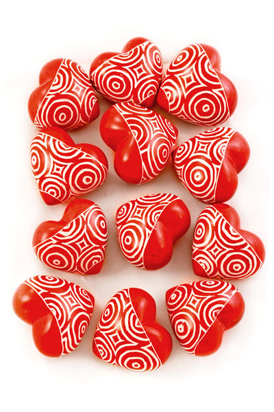 Red Hearts Kenyan Soapstone- etched