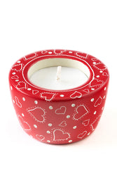 Soapstone Red Tea Light Candle Holder