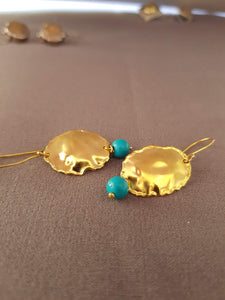 9K Gold Earrings with Turquoise Bead