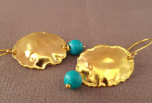 Load image into Gallery viewer, 9K Gold Earrings with Turquoise Bead