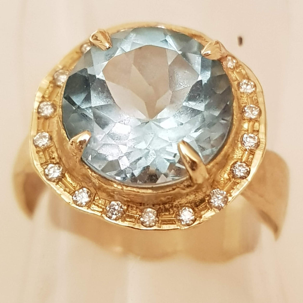 18K Gold Inbal Volcano Ring with Blue Topaz and Diamonds
