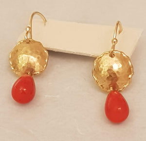 9K Gold Earrings with Red Coral