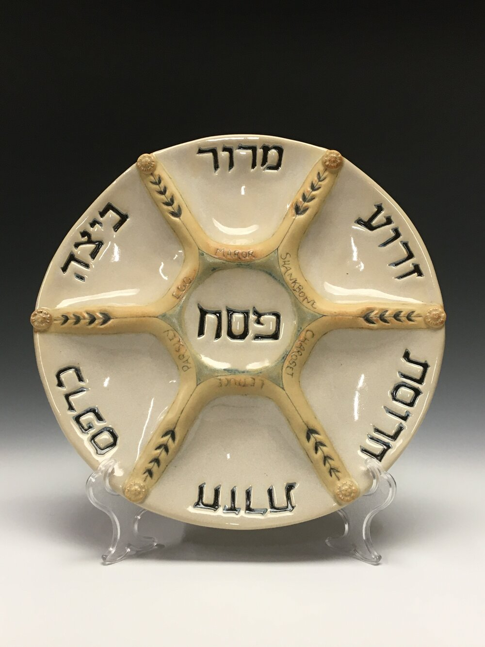 Seder Plate in Hebrew and English