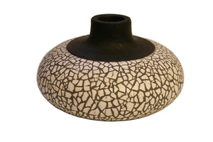 Black Gesso Vase with Eggshell Ivory