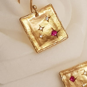 14K Gold Set with Diamond and Ruby Stars Dangle Earrings