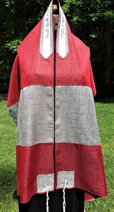 Gorgeous Red Tallit with Silver Accent