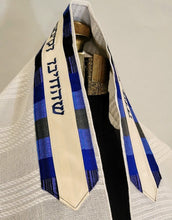 Load image into Gallery viewer, Crisp White Cotton Tallit with Blue Stripes