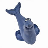 Front view of the plush seal soft sculpture in smoke blue