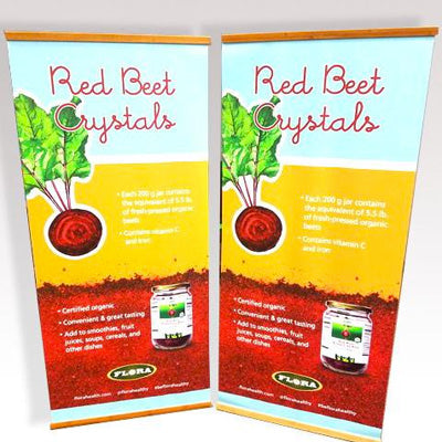 Vertical Banner Stand made of Bamboo for Flora Health