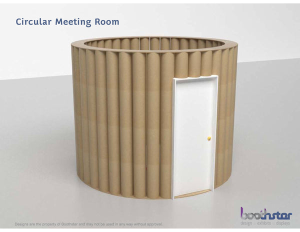 Creative use of cardboard building materials for custom tradeshow booth design