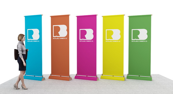 recyclable banners and banner stands for green tradeshow booth ideas