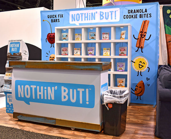 small 10' X 10' custom tradeshow booth design for natural food company