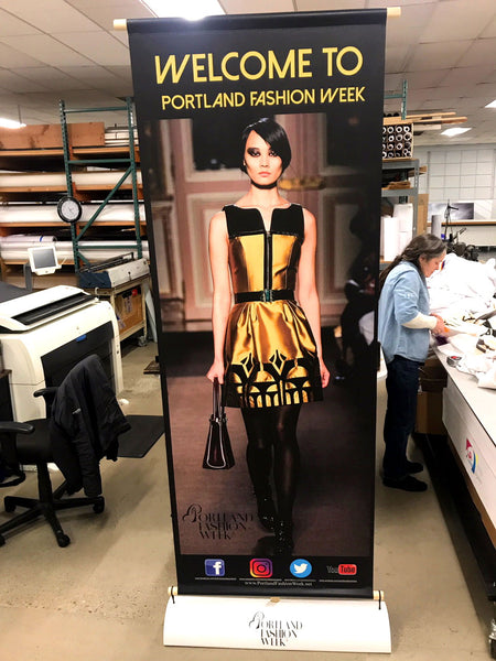 vertical banner stands for portland fashion week