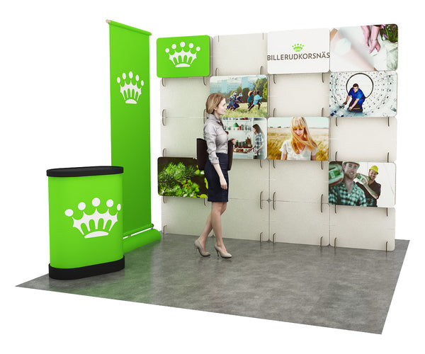 custom tradeshow booth designed with the modular notched card booth construction system