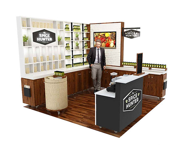 green tradeshow booth design for the fancy foods show