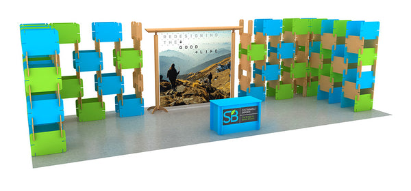 recyclable tubes combined with the new notched card tradeshow booth construction system