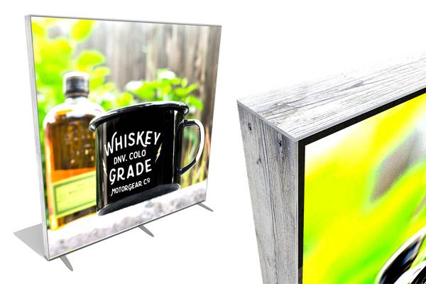custom designed reclaimed wood lightbox displays for eyecatching booth design
