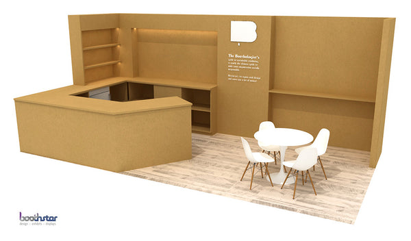 tradeshow booth design fabricated with cellulose fiberboard