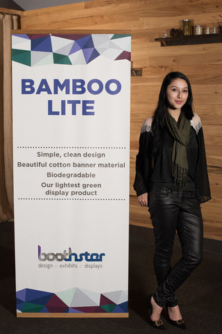 Vertical Banner Stand in Bamboo