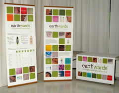 Vertical Banner Stand in Bamboo with Table Runner